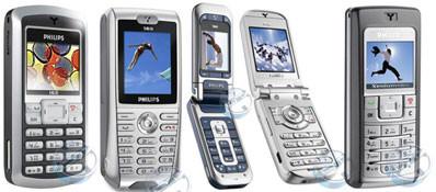 Слева направо - Philips 162, 568, 760, 655, Xenium 9@98