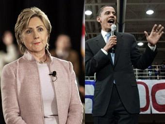 Кандидаты в президенты США Хиллари Клинтон и Барак Обама.
