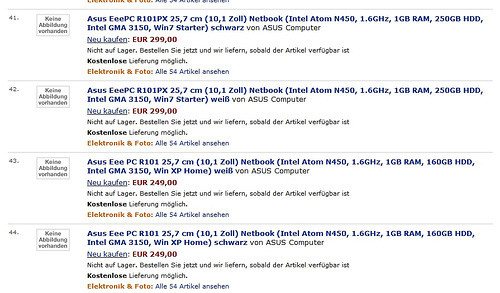Новые нетбуки ASUS Eee PC R101 и R101PX появились на Amazon